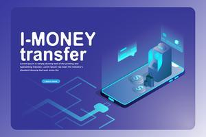 Negócios bancários de transferência de dinheiro móvel e landing page financeira