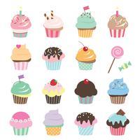 Conjunto de cupcakes fofo vetor