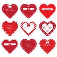 Conjunto de corações cortados decorativos
