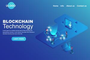 Tecnologia de cadeia de blocos Conceito de página de chegada vetor