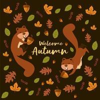 Squirrely iLlustration com padrão de folhas e nozes de carvalho para o outono