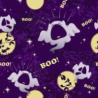 Padrão sem emenda de vetor para Halloween com fantasmas engraçados, lua, céu e estrelas