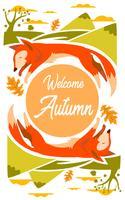 Ilustração de raposa para temporada outono com folhas e montanha