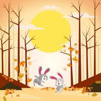 Ilustração de dois coelhos bonitos e engraçados, jogando no outono outono