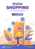 Layout de pôster de compras online vetor