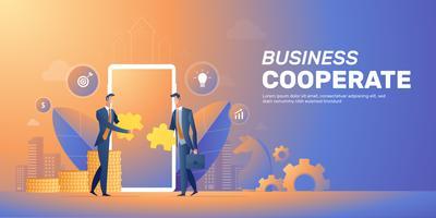 Empresário cooperar layout de banner