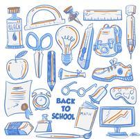 Arte legal Doodle para volta ao fundo de textura de escola vetor