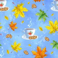 Padrão de vetor sem costura com chocolate quente, biscoitos e folhas de outono
