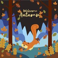 Desenho de esquilo brincando na floresta na temporada de outono