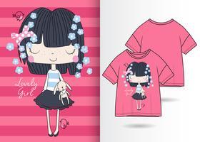 Linda Garota Cabelo Escuro Mão Desenhada Camiseta Design vetor