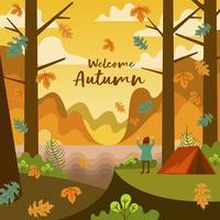 Pessoas acampando na temporada de outono outono na floresta vetor