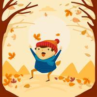 Garoto bonito e engraçado, brincando e dançando no outono outono