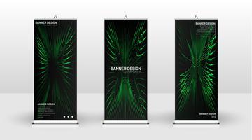 Design de modelo de banner verde vertical vetor