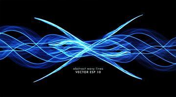 Vetor abstrato de linhas de onda azul