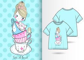 Faça uma pausa mão desenhada camiseta Design vetor