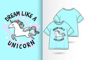 Sonho como um design de camiseta desenhada de mão de unicórnio vetor