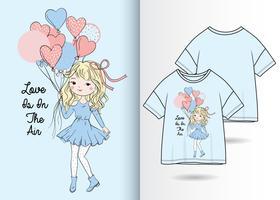 O amor está no ar Design de camiseta de menina desenhada à mão vetor