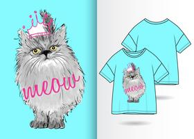 Mão desenhada gatinho fofo com design de camiseta vetor