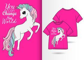 Você pode mudar o design do Tshirt do unicórnio do mundo