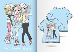 Design de camisa desenhada de mão BFF T