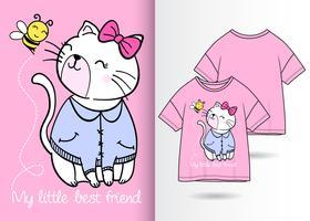 Mão desenhada gatinho fofo com design de camiseta