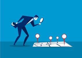 Empresário pensativo olhando o mapa para investimento vetor