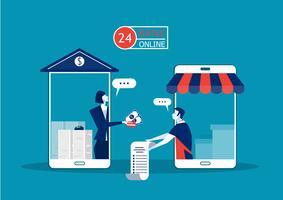 empréstimo de oferta comercial, smartphone que paga on-line ao proprietário da empresa por investimento