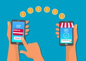 Transferências móveis para a loja online, com smartphone vetor