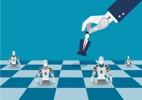 robô mão jogar figura de xadrez vetor