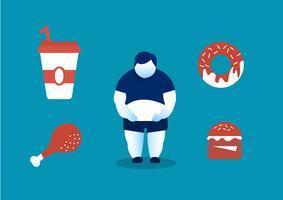 humana comendo junk food e os perigos da gordura da barriga vetor