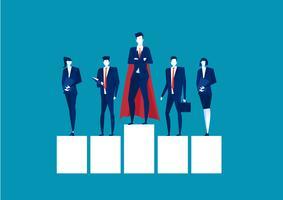 Empresário de super-herói em pé em uma plataforma para liderança em fundo azul