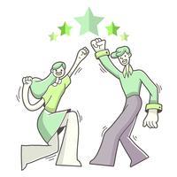 Ilustração de sucesso de objetivo de menino e menina vetor