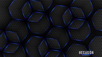 Tecnologia de hexágonos de metal brilhante azul e preto