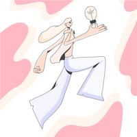 Menina, pular alto, segurando, bulbo, idéia, ilustração