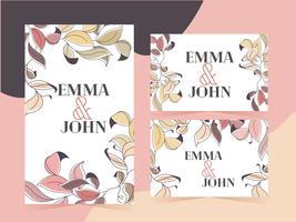 Conjunto de design de convite de quadro de folhas