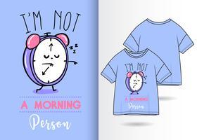Pessoa manhã mão desenhada relógio camiseta design vetor