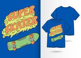 Mão desenhada skate com design de camiseta vetor