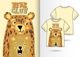 Urso clube mão desenhada camiseta Design