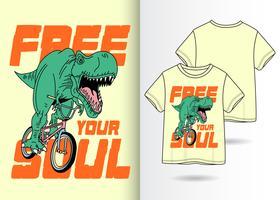 Livre sua alma Dino mão desenhada camiseta Design vetor