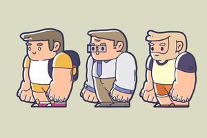 Design de personagens de Chibi de uma criança, trabalhador de escritório e velho com barba vetor