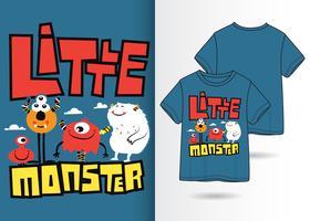 Design de camiseta desenhada mão pequeno monstro vetor