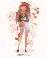 Mão desenhada linda garota segurando a bolsa com fundo de flores