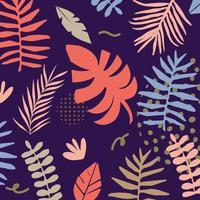 Fundo de folhas e flores de selva tropical vetor