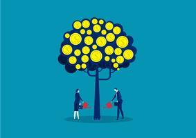 pessoas de negócios, molhando a árvore do dinheiro