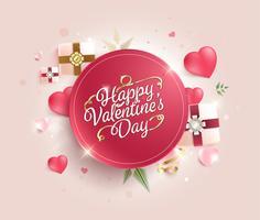 Feliz dia dos namorados caligrafia em fundo doce. cartão de felicitações ilustração vetorial vetor