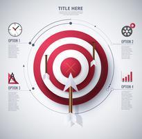 diagrama infográfico de alvo e objetivo vetor