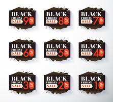 Black Friday promoção rótulo e etiqueta de desconto vetor