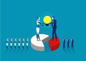 robô e lâmpada de exploração humana em cooperação para desenvolver trabalho vetor