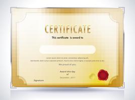 Modelo de certificado dourado vetor