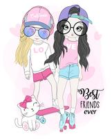 Mão desenhada garotas bonitas andando de skate com gato